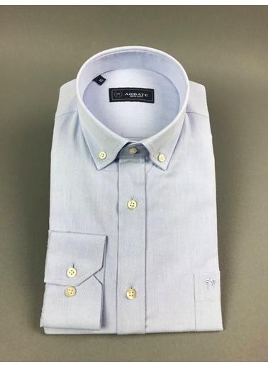 Abbate Düğmelı Yaka Armürlü Regular Fıt Ceplı Gomlekgömlek Mavi